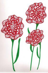 fleurs rouges-dessin