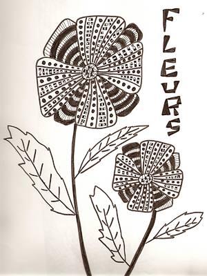 fleurs noir et blanc dessin