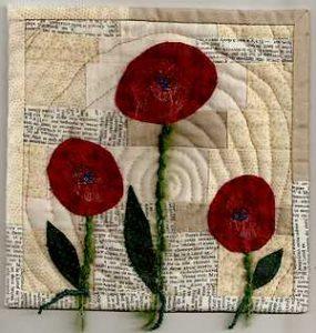 fleurs rouges tissu